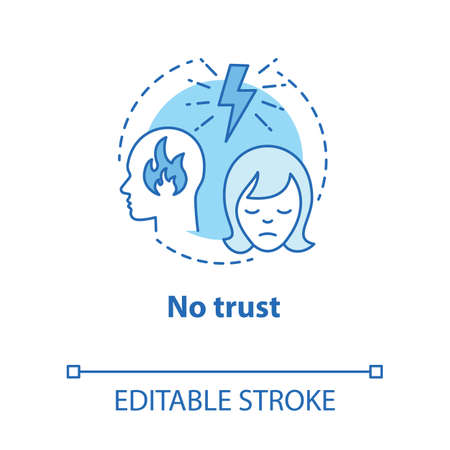 No trust concept icon. Lack of confidence with partner. Distrust in couple. Lost faith. Trouble relationship idea thin line illustration. Vector isolated outline drawing. Editable stroke