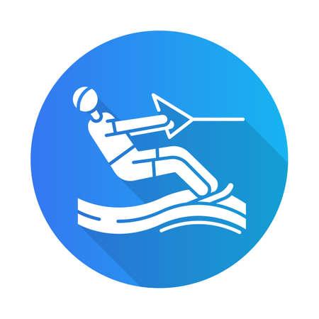 Icono de glifo de larga sombra de diseño plano azul de esquí acuático. Ocio de verano y pasatiempo peligroso. Tipo de deporte extremo. Hombre de wakeboard. Ilustración de silueta de vector Ilustración de vector