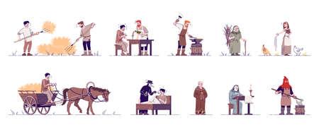 Ensemble d'illustrations vectorielles à plat de personnes médiévales. Paysans historiques, agriculteur, forgeron, bourreau, prêtre, docteur personnages de dessins animés isolés avec des éléments de contour sur fond blanc