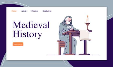 Zielseiten-Vektorvorlage für die mittelalterliche Geschichte. Mittelalterliche Chronik, die eine Website-Schnittstellenidee mit flachen Illustrationen schreibt. Homepage-Layout für historische Aufzeichnungen. Webbanner, Webseiten-Cartoon-Konzept