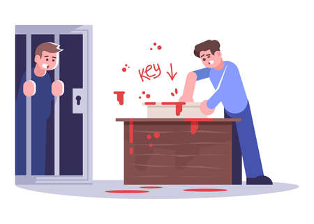 Men in escape room flat vector illustration. Boy saving friend isolated cartoon characters on white background. People in creepy quest room solving mystery. Horror themed logic game