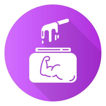 Icono de glifo de larga sombra de diseño plano púrpura de encerado duro. Cera fría natural en tarro con espátula. Equipo de depilación corporal. Cosmética profesional para tratamientos de belleza. Ilustración de silueta de vector Ilustración de vector