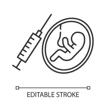 Forced abortion linear icon. Unintended pregnancy. Baby in mother womb. Birth control. Surgical procedure. Thin line illustration. Contour symbol. Vector isolated outline drawing. Editable stroke