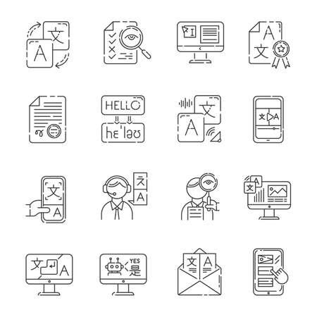 Language translation service linear icons set. Multilingual chatbot. Audio translation. Transcription, proofreading. Thin line contour symbols. Isolated vector outline illustrations. Editable stroke