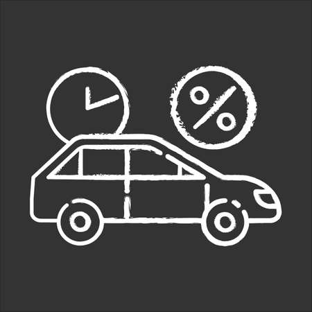 Car finance chalk icon. Take credit to buy auto. Loan money for purchasing vehicle. Loan money with percentage rate. Buying means of transportation. Rent auto. Isolated vector chalkboard illustration Vectores