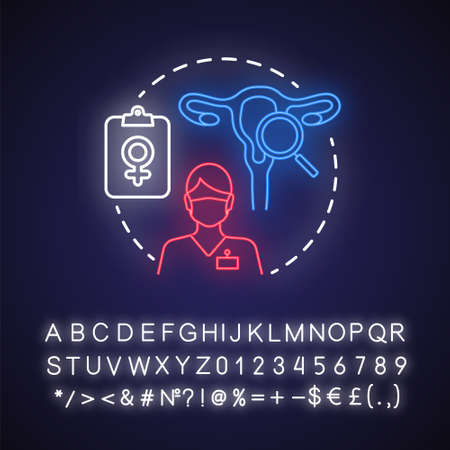 Gynecology neon light concept icon. Women healthcare idea. Gynaecologist, doctor. Female reproductive system, fertility. Glowing sign with alphabet, numbers and symbols. Vector isolated illustration
