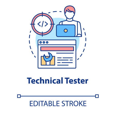 Technical tester concept icon. Software development idea thin line illustration. App programming. System functions analysis. IT project managment. Vector isolated outline drawing. Editable stroke