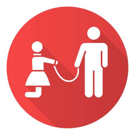 Icono de glifo de larga sombra de diseño plano rojo de esclavitud sexual. Violación de los derechos humanos de la mujer. Abusar de la mujer. Hombre con chica con correa. Sexo sin consentimiento. Delito criminal. Ilustración de silueta de vector