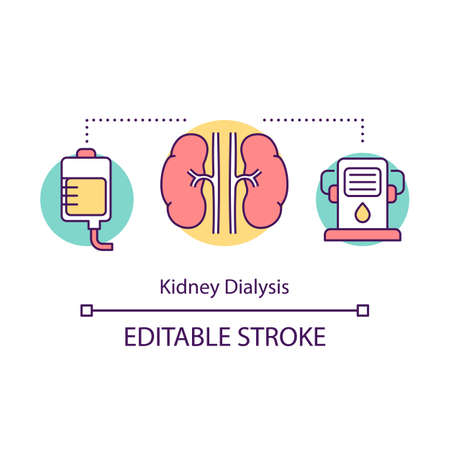 Kidney dialysis concept icon. Haemodialysis. Medical treatment. Artificial kidney machine. Filtering blood. Bioengineering idea thin line illustration. Vector isolated outline drawing. Editable stroke Vector Illustration