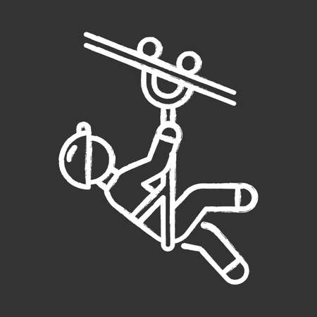 Zip line chalk icon. Canopy tour. Person with pulley on cable. Wire descend. Man sliding down rope. Extreme sport. Isolated vector chalkboard illustration