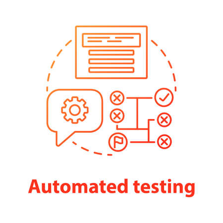 Automated testing concept icon. Software development tools idea thin line illustration. Mobile device programming and coding. Project management and maintenance. Vector isolated outline drawing