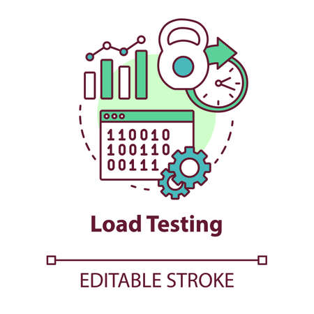 Load testing concept icon. Software development stage idea thin line illustration. System perfomance at different conditions. Non-functional testing. Vector isolated outline drawing. Editable stroke Illusztráció