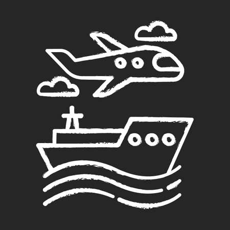 Transport industry chalk icon. Plane and ship. Boat on waves. Airplane in sky. Transportation, shipping. Travel, trip, voyage. Tourism business. Cruise tour. Isolated vector chalkboard illustration