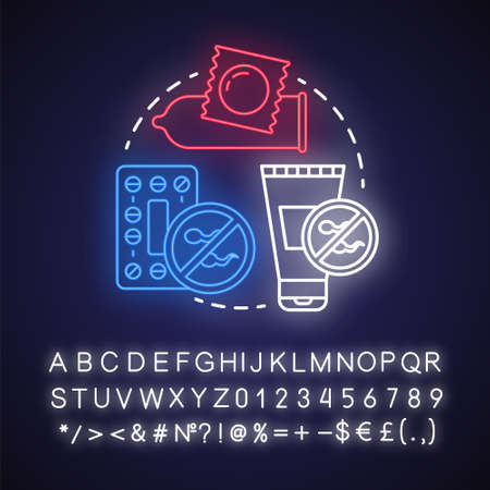 Contraceptions neon light concept icon. Birth control idea. Unwanted pregnancy prevention. Safe sex. Condom, pills. Glowing sign with alphabet, numbers and symbols. Vector isolated illustration