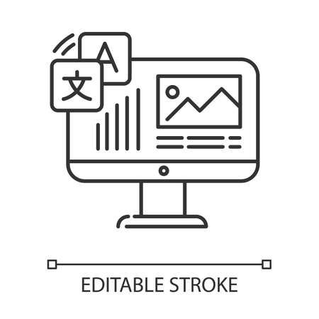 Website localization, DTP services linear icon. Website translation. Text editing, spelling correction. Thin line illustration. Contour symbol. Vector isolated outline drawing. Editable stroke