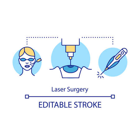 Laser surgery concept icon. Surgical correction of vision. Medical therapy. Invasive procedure. Cosmetology, ophthalmology idea thin line illustration. Vector isolated outline drawing. Editable stroke