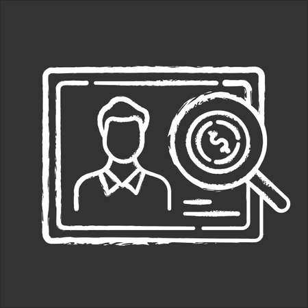 Verifying creditworthiness chalk icon. Examining personal credit history. Financial report. Economy business. Investment, budget graph. Bank insurance state. Isolated vector chalkboard illustration Vectores