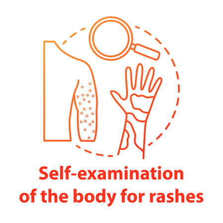 Body self-examination red concept icon. Rash, eczema symptoms, signs. Inflammation, itchiness on skin. Safe sex. Dermatology idea thin line illustration. Vector isolated outline drawing Ilustração