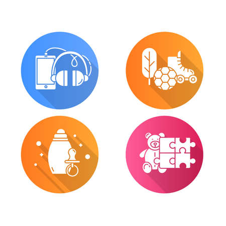 E commerce departments flat design long shadow glyph icons set. Online shopping categories. Internet retail. Toys, hobbies. Phones and accessories. Sports and outdoors. Vector silhouette illustration