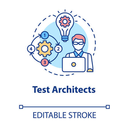 Test architects concept icon. Software development idea thin line illustration. App programming. IT project managment. Senior testing professional. Vector isolated outline drawing. Editable stroke Illustration