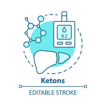 Ketons concept icon. Keto diet idea thin line illustration. Ketone bodies, molecules. Test, analysis. Ketoacidosis, ketosis, healthcare. Vector isolated outline drawing. Editable stroke