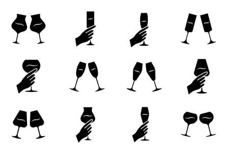 Wine service glyph icons set. Clinking glasses of wine and champagne. Hands holding wineglasses. Celebration, party. Wedding. Tasting, degustation. Silhouette symbols. Vector isolated illustration