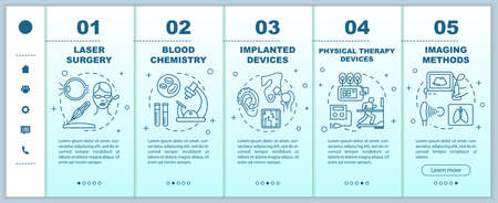 Biomedical engineering onboarding mobile web pages vector template. Blood chemistry. Responsive smartphone website interface idea, linear illustrations. Webpage walkthrough step screens. Color concept