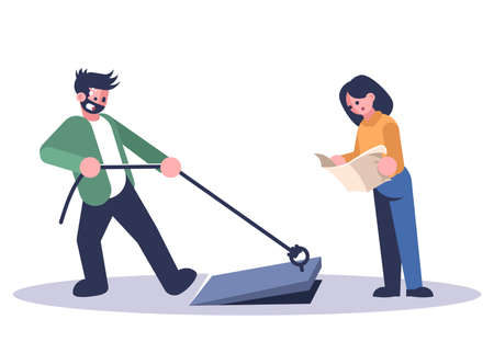 Friends in quest room flat vector illustration. Woman reading map, man opening basement isolated cartoon characters on white background. Couple in escape room looking for exit. Logic game
