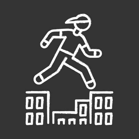 Parkour chalk icon. Traceur running in city environment. Traversing obstacles. Person jumping in urban space. Street workout. Extreme sport. Isolated vector chalkboard illustration