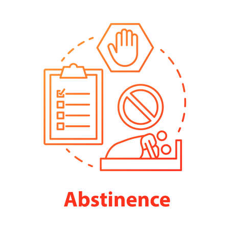 Abstinence red concept icon. Safe sex. Refuse stimulation. Intimate relationship. Risk prevention in sexlife. Male, female healthcare idea thin line illustration. Vector isolated outline drawing