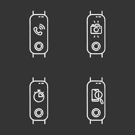 Fitness tracker and smartphone synchronization chalk icons set. Incoming call and lost phone location option. Distance camera access and stopwatch pictograms. Isolated vector chalkboard illustrations