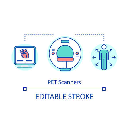 PET scanners concept icon. Positron emission tomography. Functional imaging technique in medicine. Disease diagnostic idea thin line illustration. Vector isolated outline drawing. Editable stroke