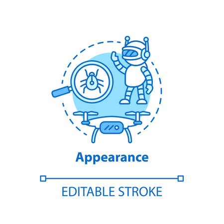 Appearance blue concept icon. Robots and electronic devices idea thin line illustration. Modern gadgets, creations. Innovative design. Vector isolated outline drawing. Editable stroke