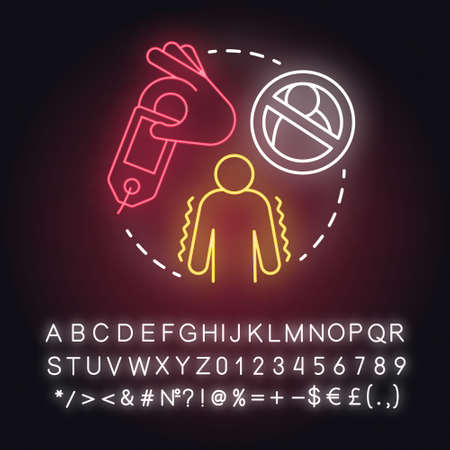 Ghost of relations neon light concept icon. Ghosting. Breaking off relationship. Stopping contact with partner idea. Glowing sign with alphabet, numbers and symbols. Vector isolated illustration