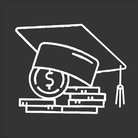 Student loan chalk icon. Credit to pay for university education. Tuition fee. College scolarship. Graduation hat. Budget investment. Academic achievement. Isolated vector chalkboard illustration Vectores