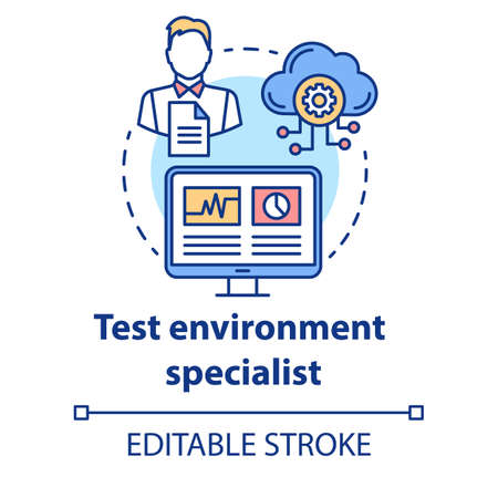 Test environment specialist concept icon. Software development idea thin line illustration. App programming professional. IT project management. Vector isolated outline drawing. Editable stroke