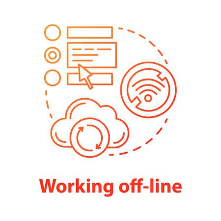 Working off-line concept icon. Software development tools idea thin line illustration. Failed synchronization, unpluag. No signal. Wifi connection error. Vector isolated outline drawing