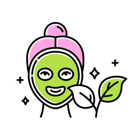Face mask color icon. Skincare routine. Plant-based. Beauty product. Facial healing treatment. Moisturizing, hydrating. Cleansing, refining. Organic cosmetics. Isolated vector illustration