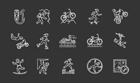 Extreme sports chalk icons set. Climbing, mountaineering. Spelunking.