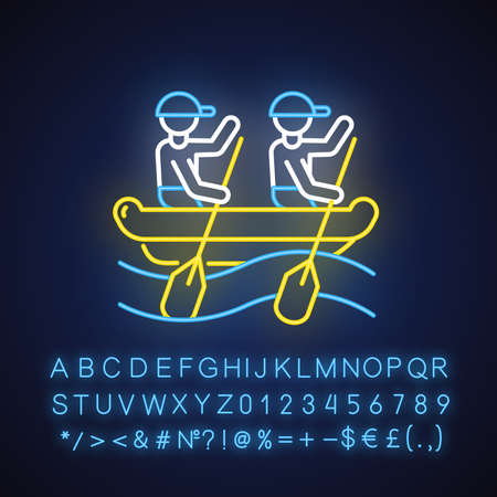 Rafting neon light icon. Watersport, extreme kind of sport. Recreational outdoor activity and hobby. Adventurous leisure on rough water. Glowing sign with alphabet. Vector isolated illustration