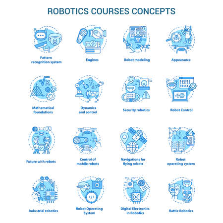 Robotics courses blue concept icons set. Creating robots idea thin line illustrations. Making electronics, devices. Lessons of robot modelling. Vector isolated outline drawings. Editable stroke Çizim