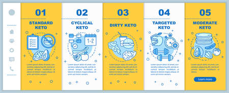 Types of keto diets onboarding mobile web pages yellow vector template. Responsive smartphone website interface idea with linear illustrations. Webpage walkthrough step screens. Color concept
