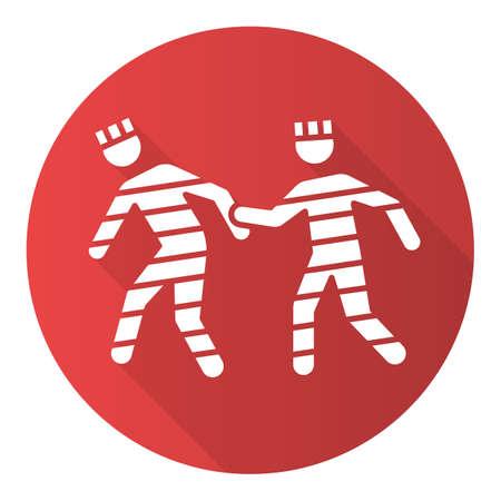Prison rape red flat design long shadow glyph icon. Jailbreak of criminals. Abuse, violent behavior of prisoners. Sexual harassment in jail. Escaping prison. Vector silhouette illustration