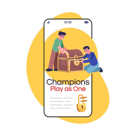 Champions play as one social media post smartphone app screen. Logic game, searching treasure. Mobile phone display with cartoon characters design mockup. Quest room application telephone interface