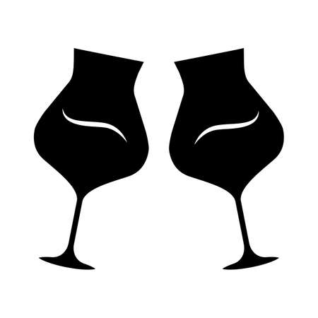 Two clinking wine glasses glyph icon. Glassfuls of alcohol beverage. Wine service. Party. Wedding. Tasting, degustation. Toast. Cheers. Silhouette symbol. Negative space. Vector isolated illustration