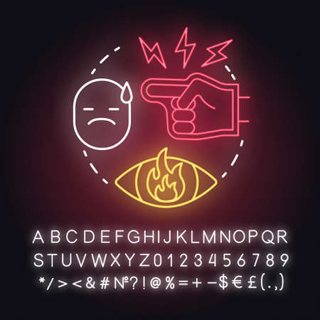 Nitpicking neon light concept icon. Humiliation in family. Insulting partner. Bullying. Autocratic education idea. Glowing sign with alphabet, numbers and symbols. Vector isolated illustration