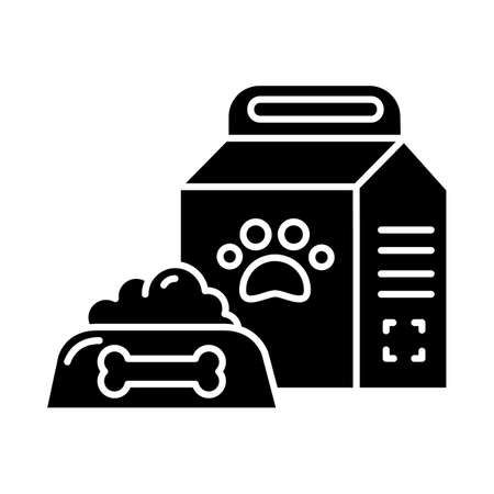 Pet supplies glyph icon. Animal food products in bowl, package. Dog, cat treat. E commerce department, online shopping categories. Silhouette symbol. Negative space. Vector isolated illustration  イラスト・ベクター素材