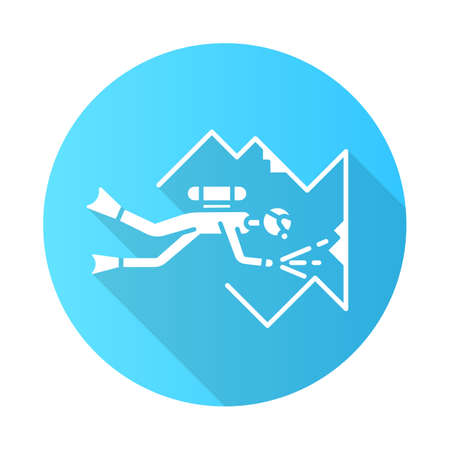 Cave diving blue flat design long shadow glyph icon. Watersport, extreme kind of sport. Exploring undersea wildlife. Summer vacation activity. Underwater world.Vector silhouette illustration