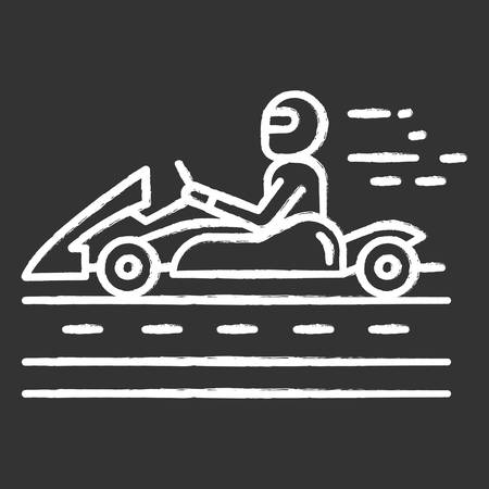 Kart racing chalk icon. Man in karting vehicle on track. Driver in kart car. Open-wheel motorsport. Recreational go-karting. Extreme sport. Isolated vector chalkboard illustration