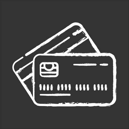 Plastic credit chalk icon. Purchase goods online. Pay without cash. Credit bank accout. Borrow, lend money. Open deposit. Finances, economy. Digital currency. Isolated vector chalkboard illustration Vectores